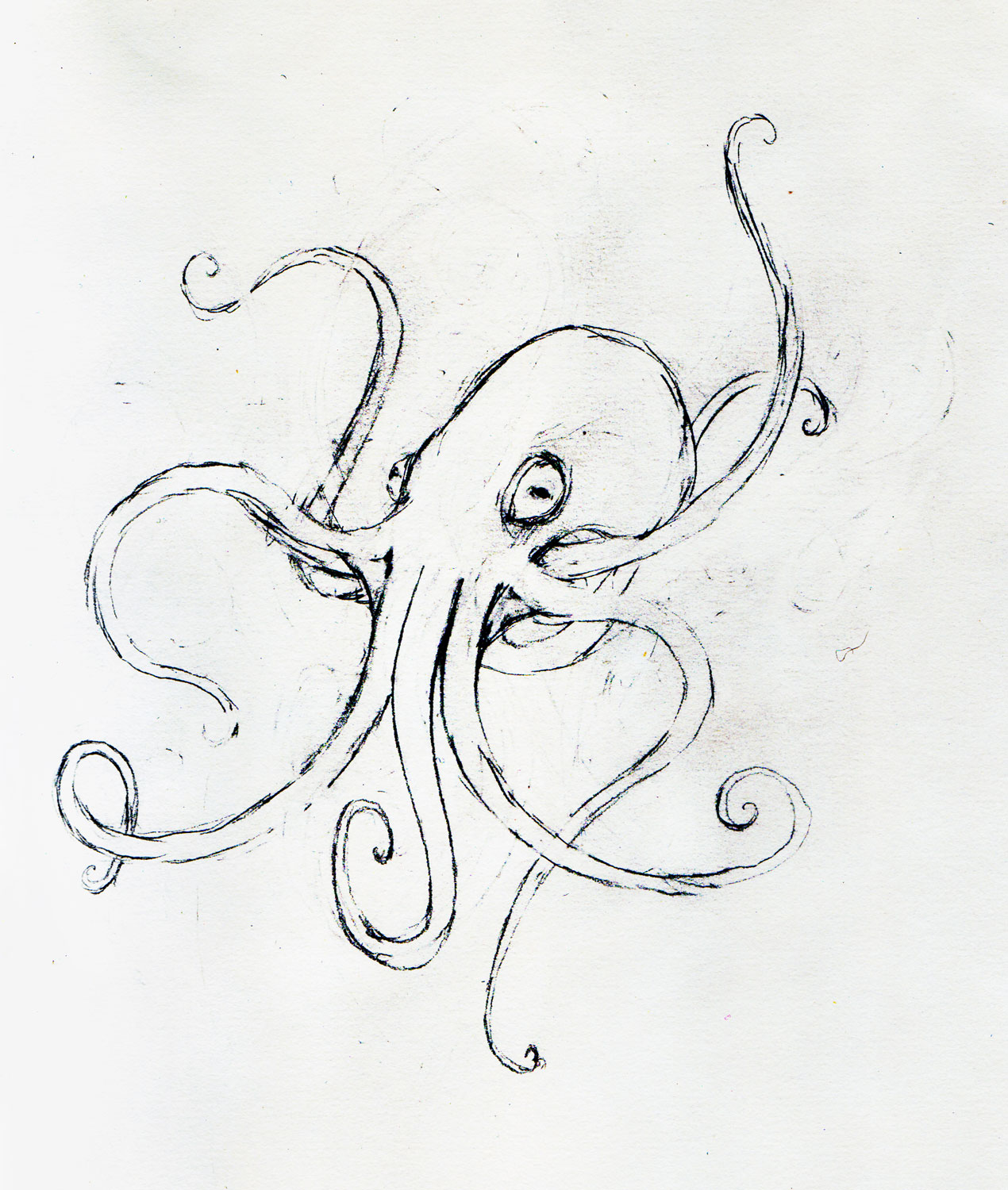 Octopus sketch leeviathan for Octopus drawing easy