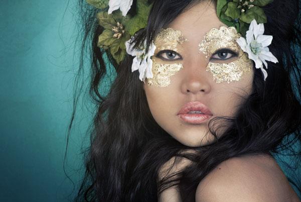 Gold Leaf Makeup Fashion Retouch